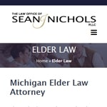 A page for a professionally developed website for an elder law attorney in Plymouth, Michigan. It has a white background and a background image of senior citizens.