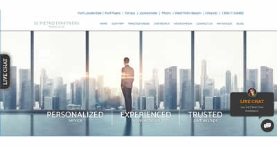 The home page of a professionally developed website for a law firm in Fort Lauderdale, Florida. It has a white background and a man in a suit overlooking skyscrapers in the background