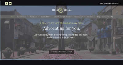 The home page of a professionally developed website for a law firm in Northville, Michigan. It has a background image of a clock in a small downtown setting.