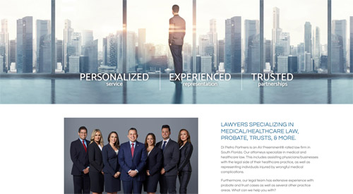 The home page of a South Florida law firm who's a client of Borealis Digital Marketing. The page shows all the attorneys and a beautiful background image of Miami